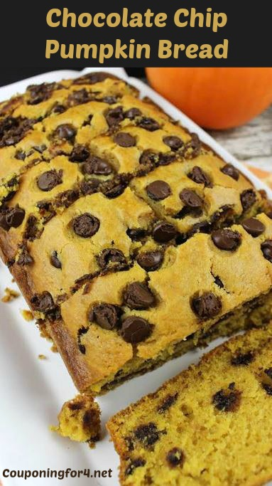 This Chocolate Chip Pumpkin Bread recipe is easy to make and will have ...